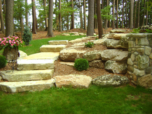 Slab Stone Steps by Custom Landscaping